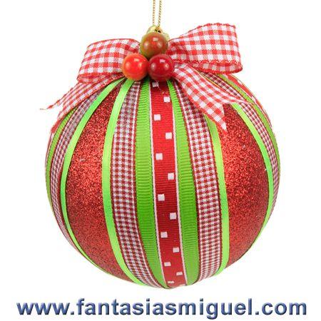 Esfera deco con listones rojo verde como hacer - Esferas de navidad ...