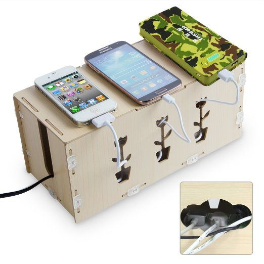 Kmashi Wooden Portable Diy Charging Station Desk Organizer Storage Cabinets Cable Cord Box
