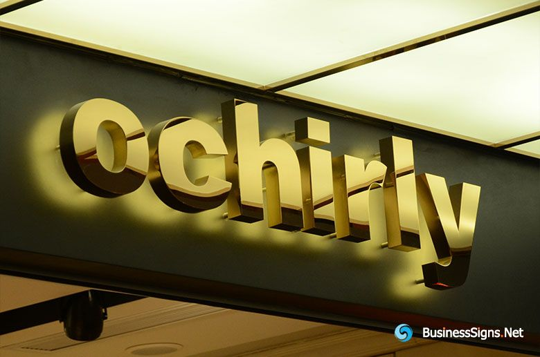 D Led Backlit Signs With Mirror Polished Gold Plated Letter Shell