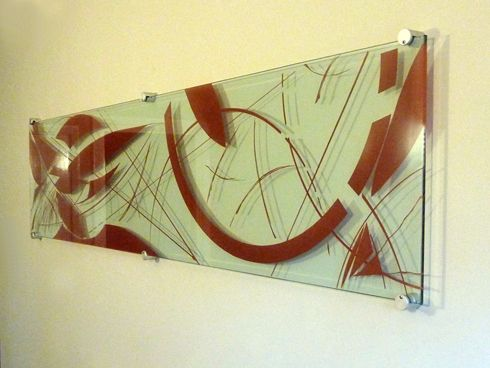 Glass art panel, sandblasted with colour wash | fused glass art ...