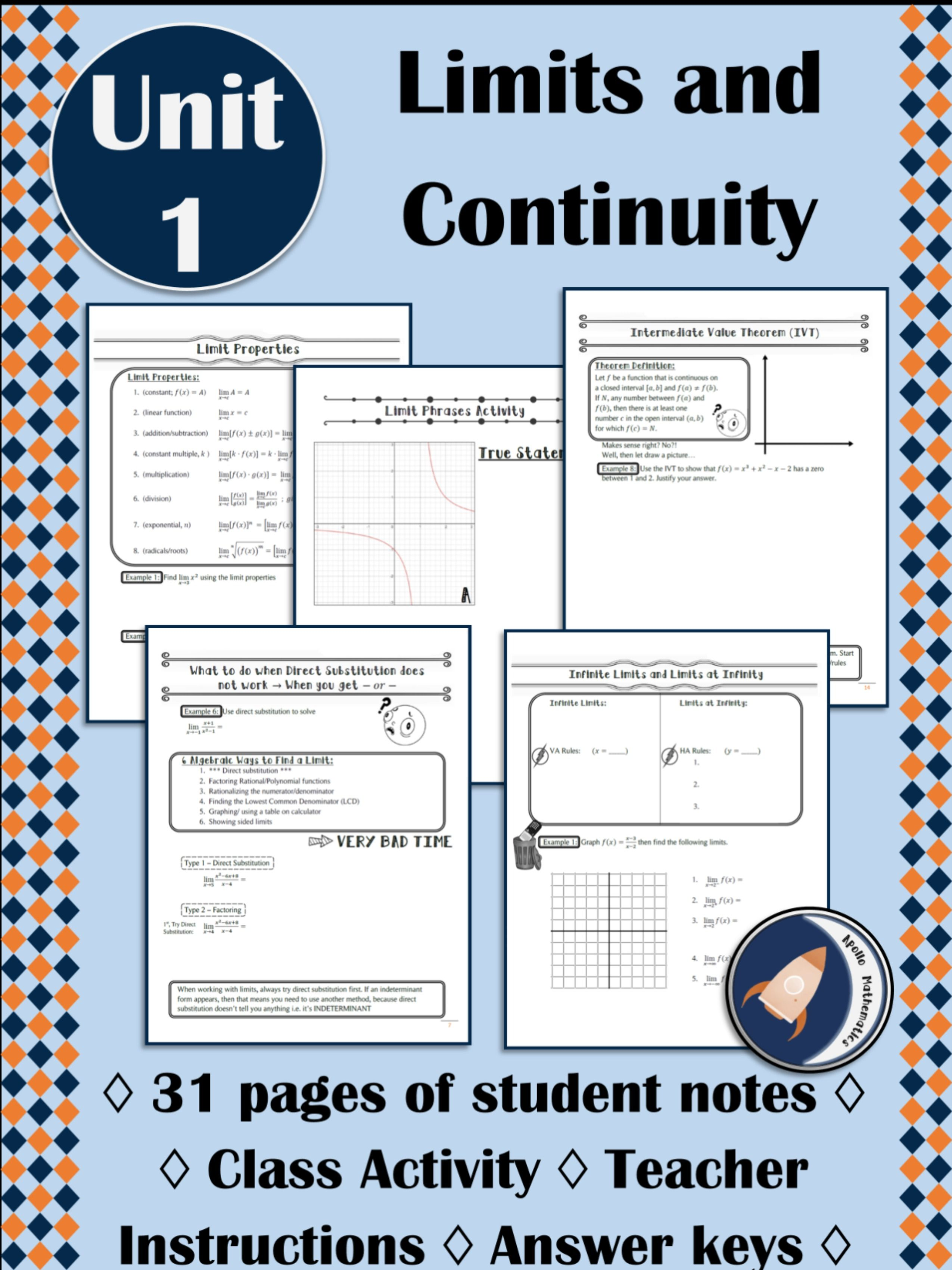 Limits And Continuity Notes Ap Calculus Ab Bc In 2020 Ap Calculus Ab Ap Calculus Mathematics