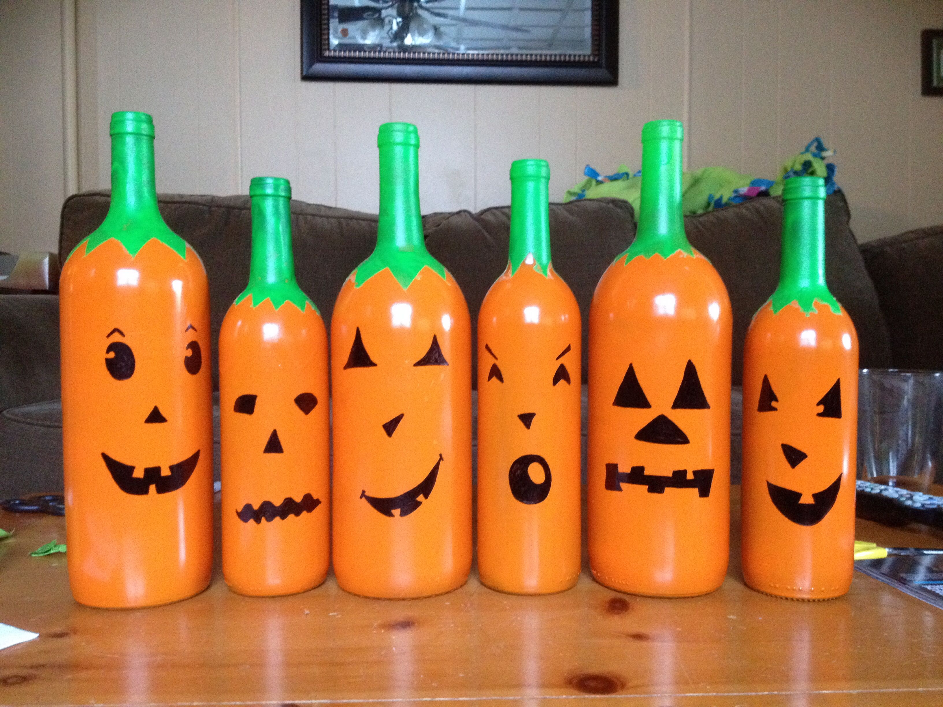 My pumpkin wine bottle project! We can paint wine bottles instead of pumpkins lol!