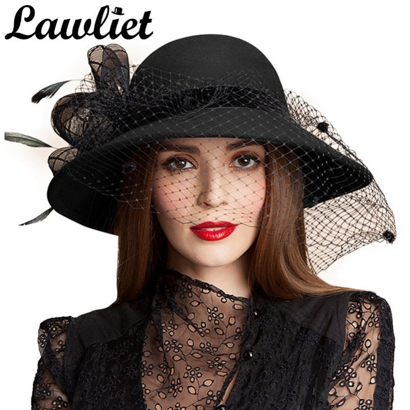 Black Women Wool Floral Veil Netting Feather Wide Brim Derby Hat Floppy Hat Fedoras Formal Occasion Dance Party Summ Veiled Hats Costume Hats Summer Hats Beach