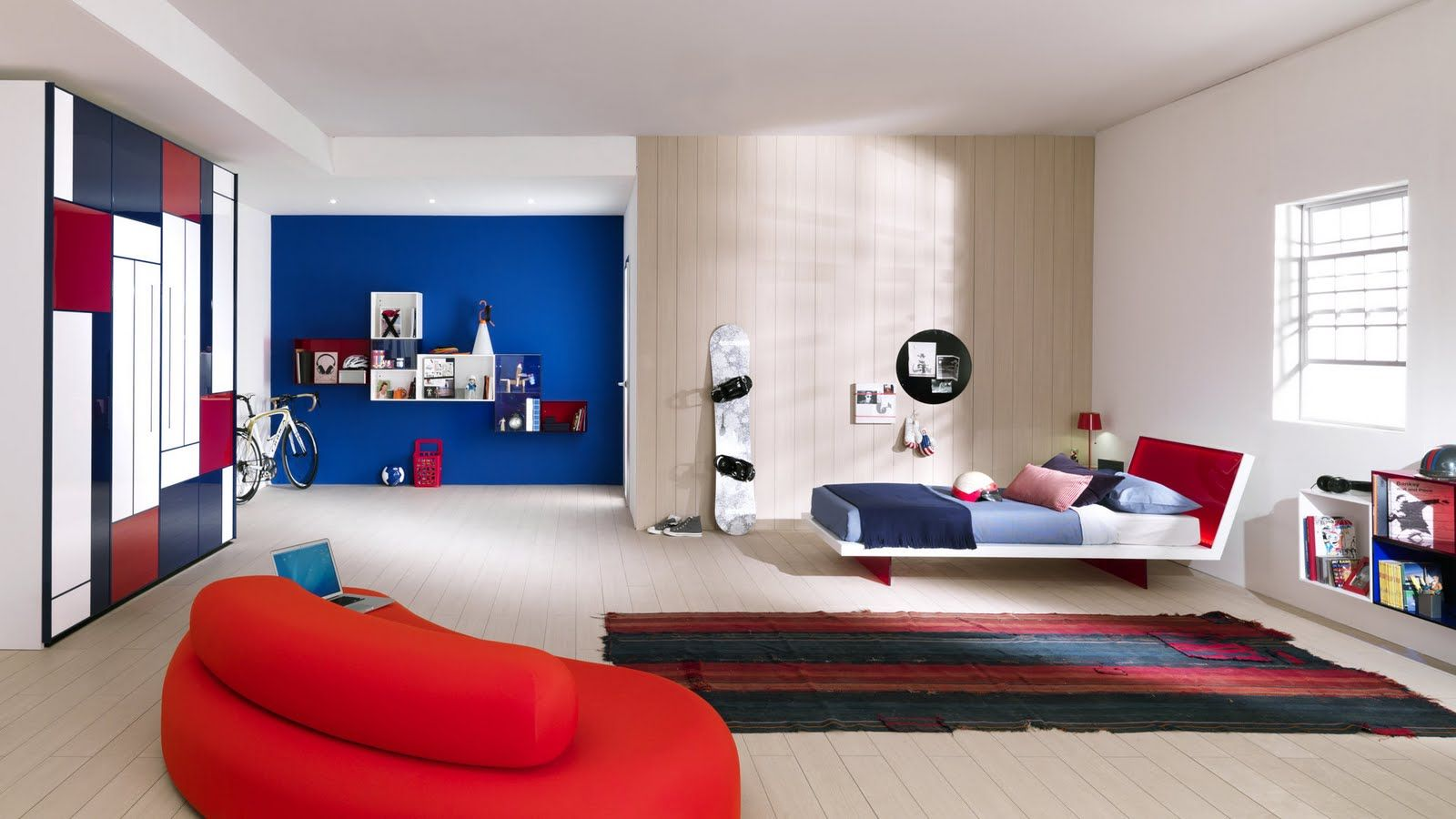 Habitaci N Adolescentes Mujer Distintos Tonos Azules Y Rojo  ~ Decoracion De Dormitorios Para Mujeres