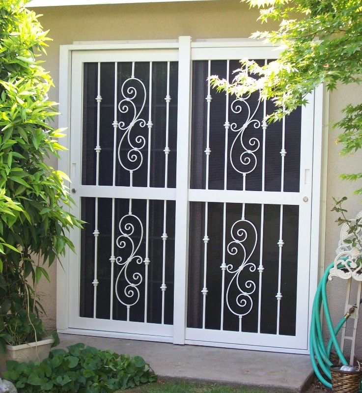 Security screen doors for double entry patio door for Double sliding screen door