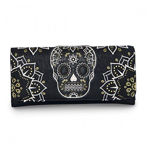 3141d4c0c03 Loungefly Cream and Gold Sugar Skull Black Wallet Loungefly  https   www.amazon