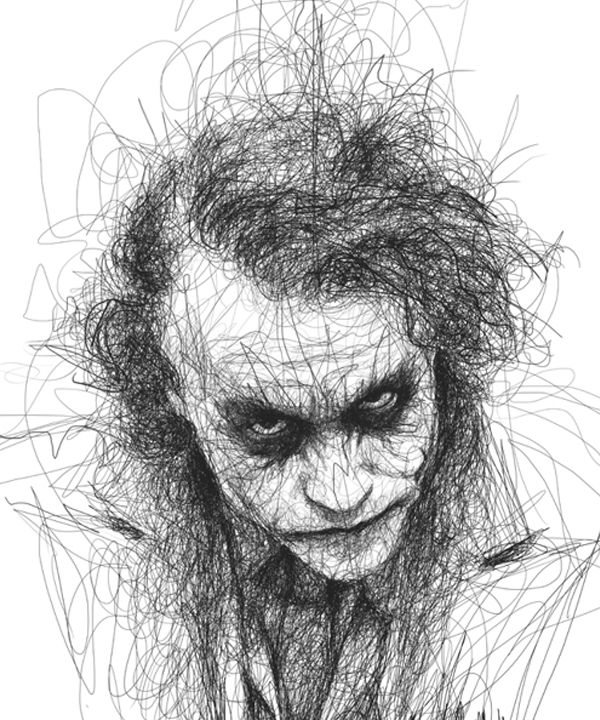 Joker Scribble Drawing : Pin by jane taylor on line pinterest joker batman and