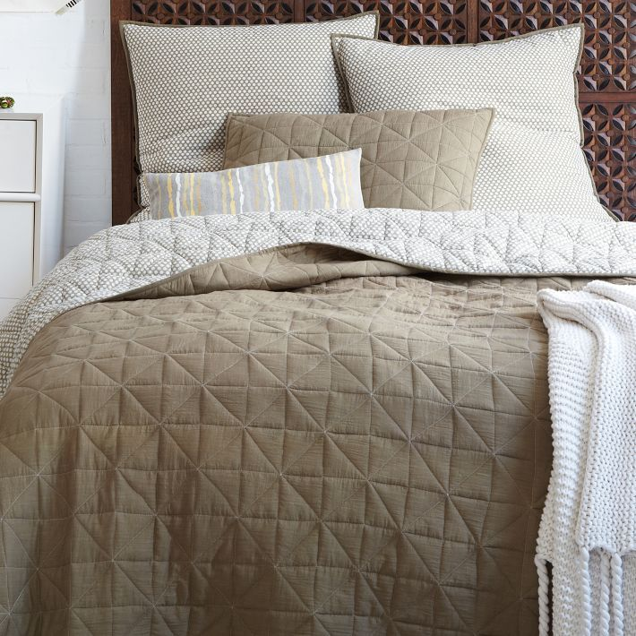 West Elm - Nomad Coverlet + Shams in Natural/Flax