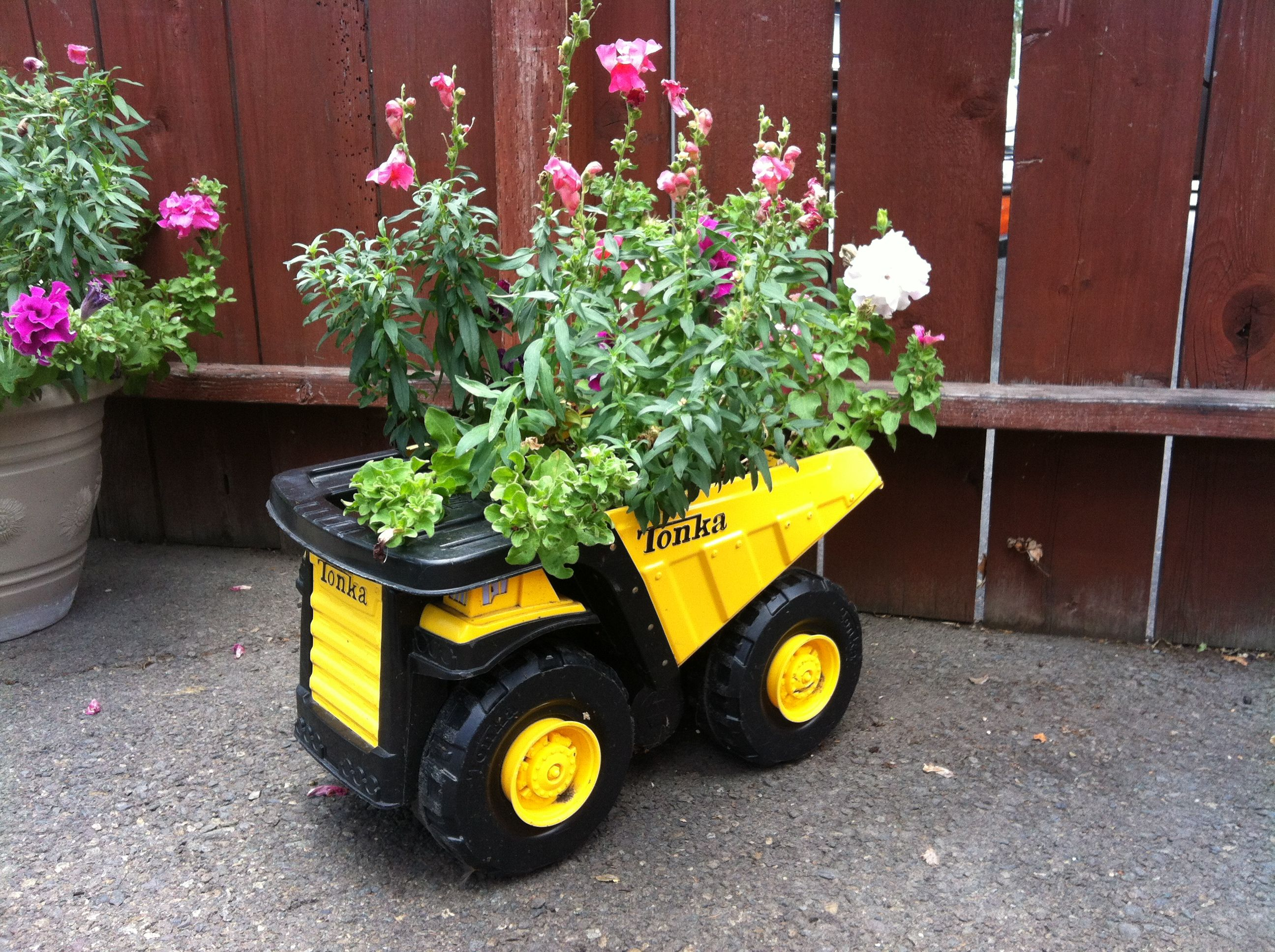 Tonka Truck Planter. Tonka TrucksGarden OrnamentsPlanters