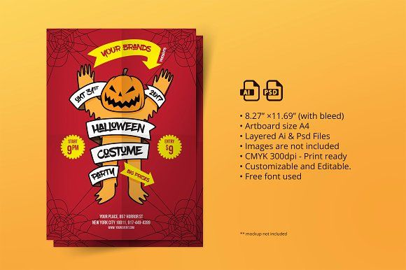 Halloween Party Flyer 02 with easy to customized and well organized - halloween design