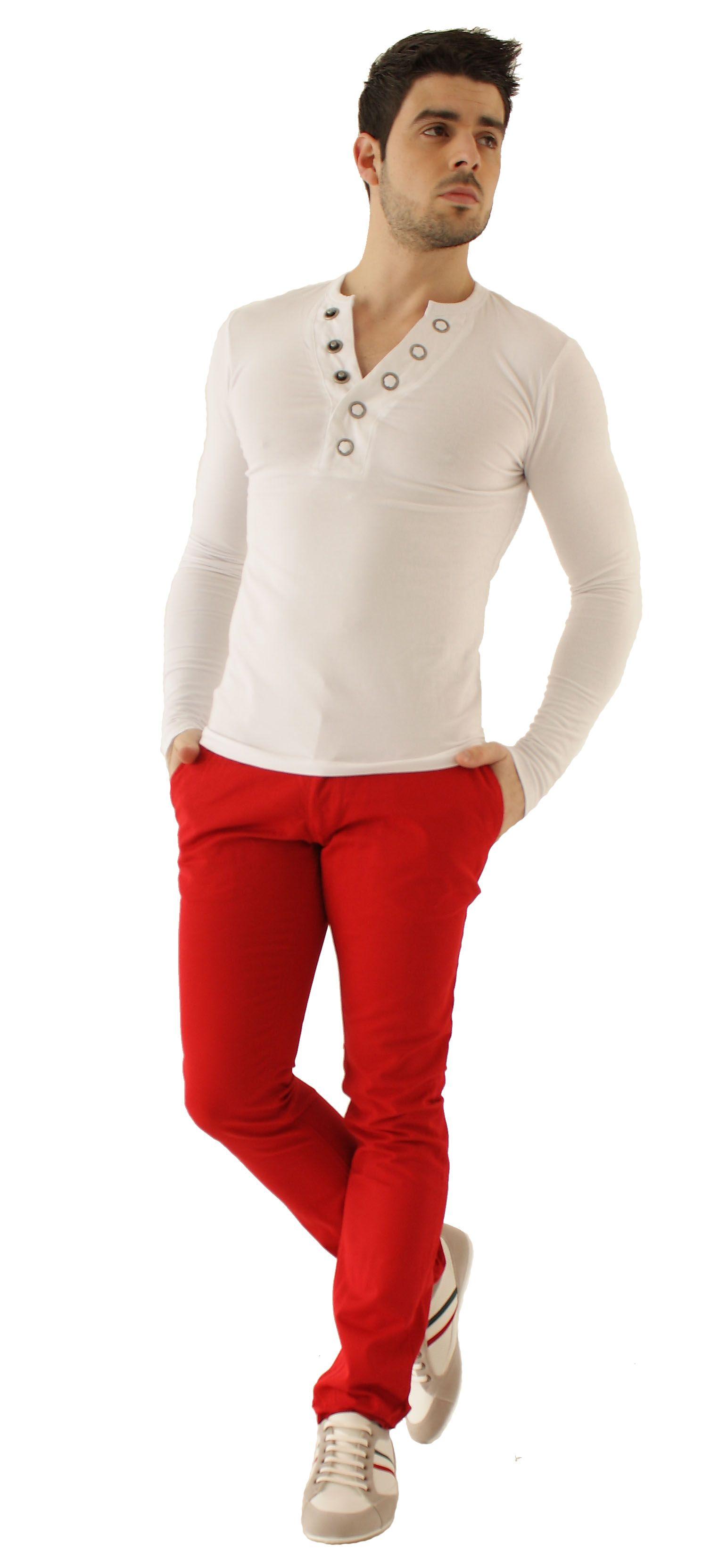 tendance et moderne avec cette tenue mode pour homme le pantalon chino rerock en coloris rouge. Black Bedroom Furniture Sets. Home Design Ideas