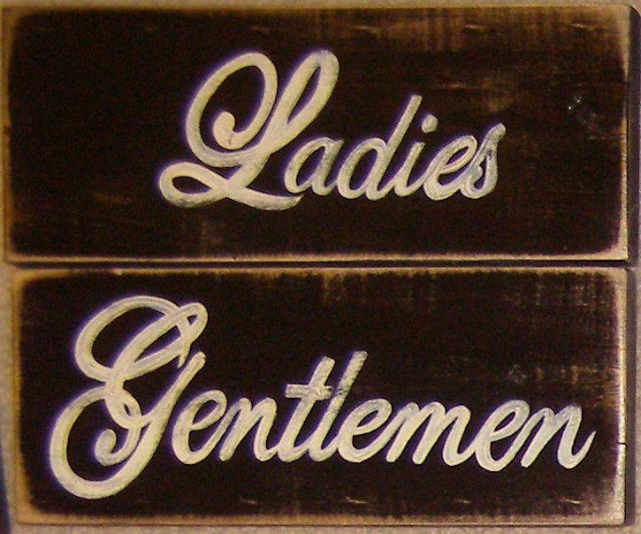 Bathroom Signs Wooden ladies gentlemen set of 2 bathroom restroom sign wood hp chic