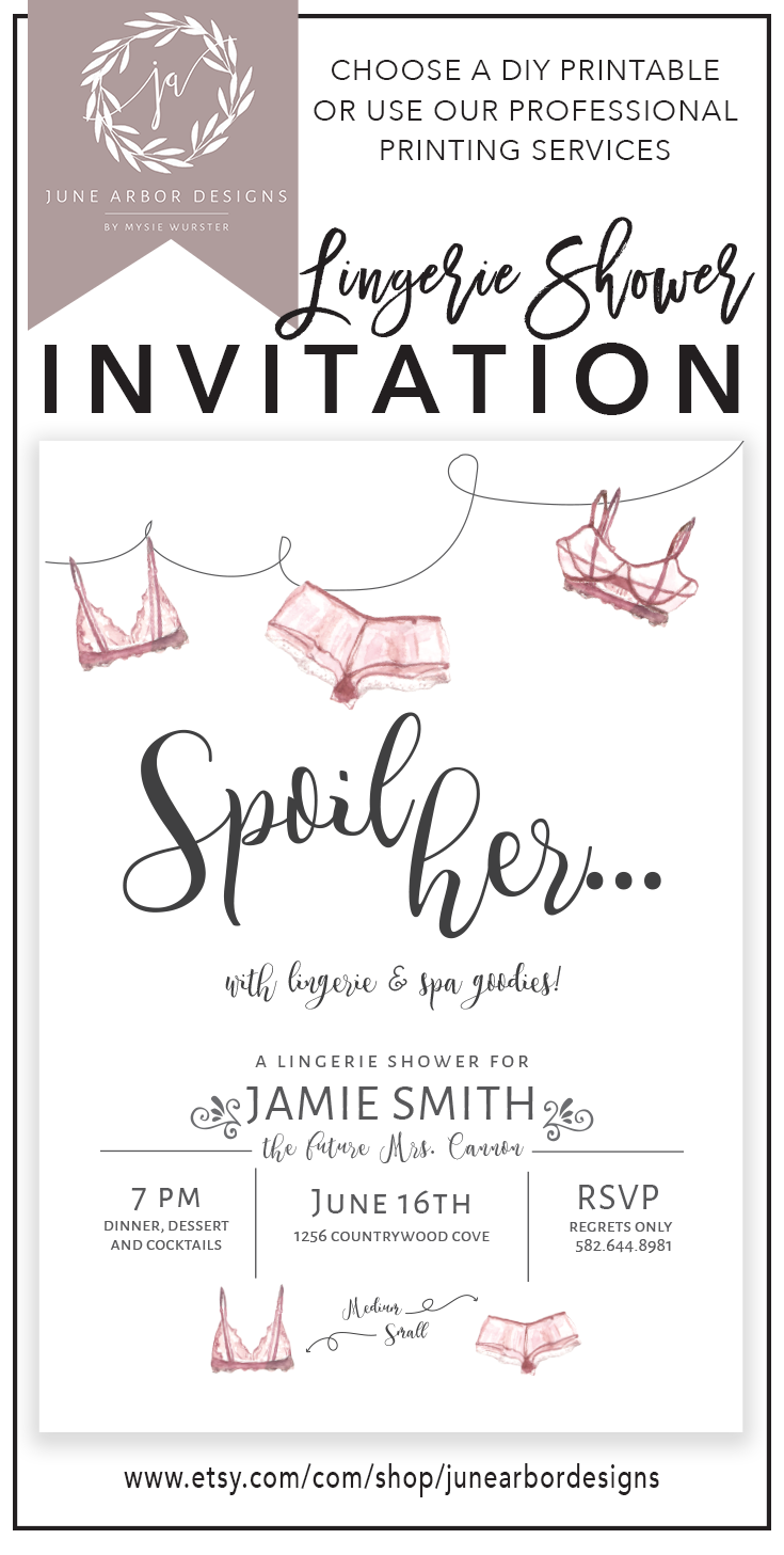 Pancakes and Panties.5x7 Inches-Lingerie Shower Invite Poppies and ...