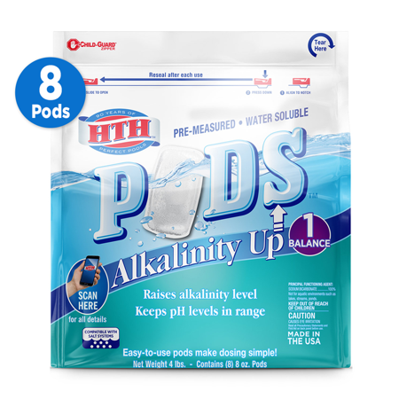 Hth Alkalinity Up Pre Measured Water Soluble Pods For Pools 4 Lb