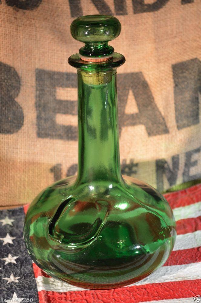 Lj Mcguinness Amp Co Ltd Liquor Green Glass Bottle Decanter 15 Vintage Antique Green Glass