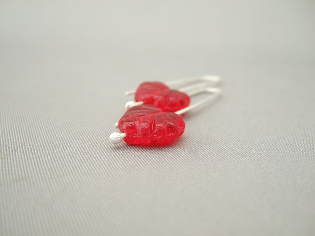 Red Autumn Leaf Czech Glass and Sterling Silver Modern Earrings