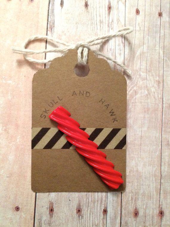 Red Licorice Lapel Pin Resin Foodie Pin Twizzler by SkullAndHawk