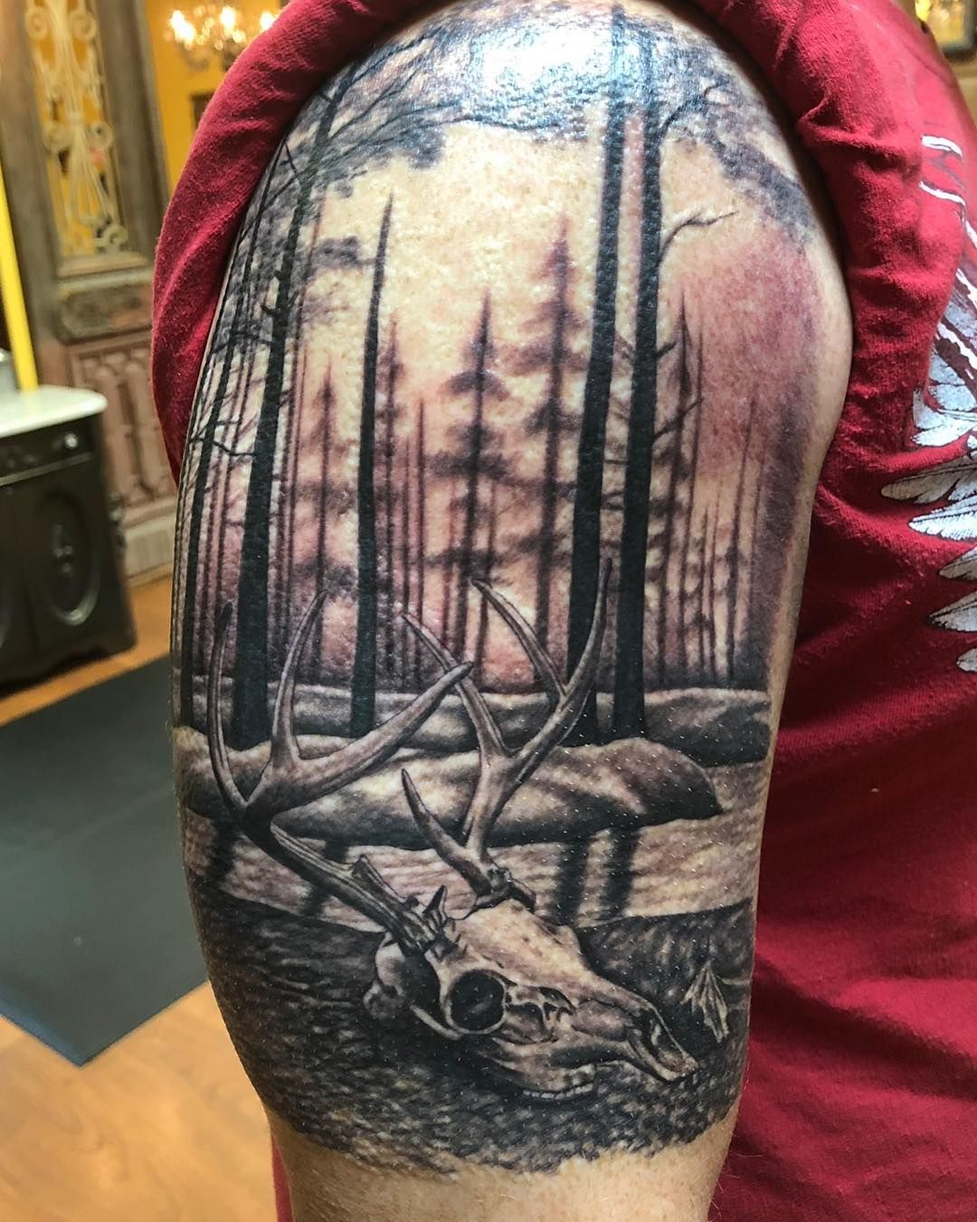 Posts Tagged As Whitetailtattoo Socialboor Com Hunting Tattoos Deer Skull Tattoos Tattoos For Guys