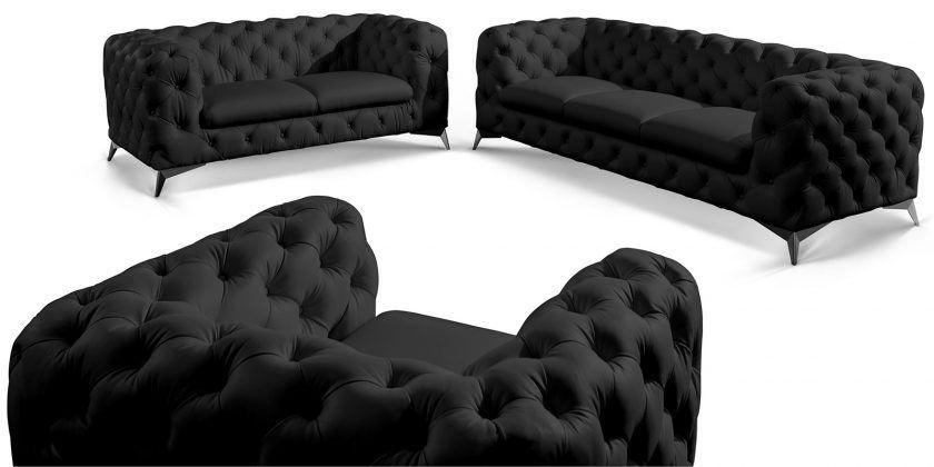 Couchgarnitur 3 2 1 Chesterfield Ledersofa Echtleder Volleder Schwarz Big Emma Modern Wohnzimmer Ideen Couchgarnitur Chesterfield Mobel Couch