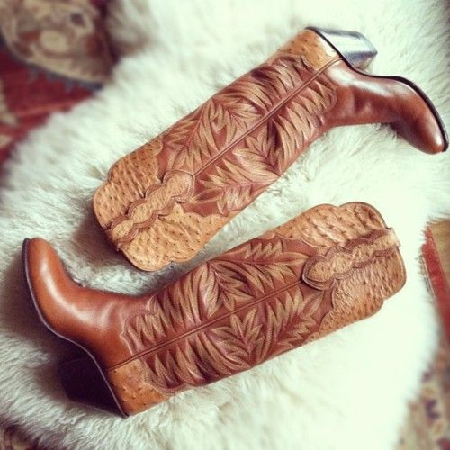 love these ostrich trimmed Paul Bond custom boots