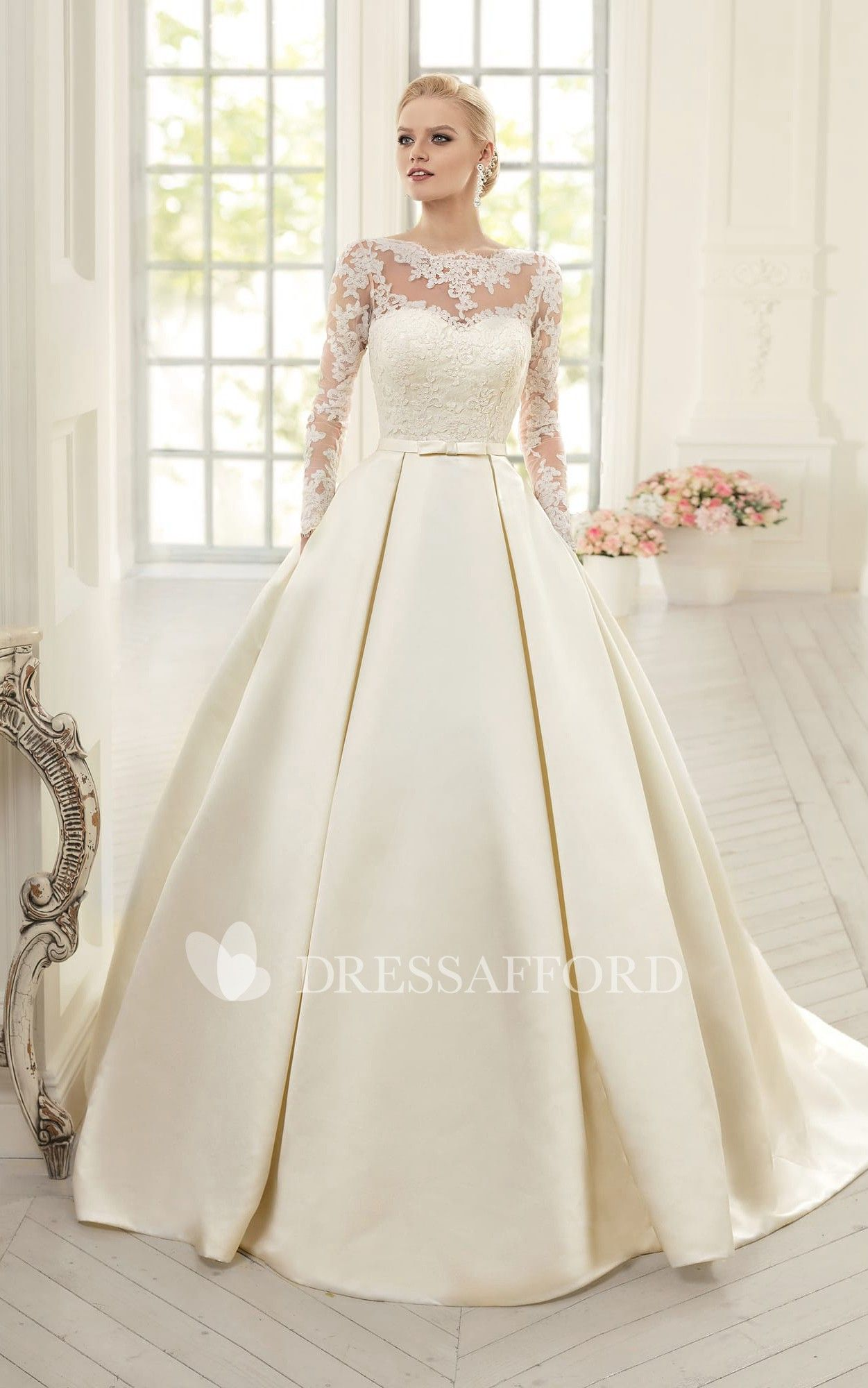 Ball Gown Floor Length Jewel Long Sleeve Corset Back Satin Dress With Appliques Dress Afford In 2020 Satin Wedding Gown Wedding Dress Sleeves Ball Gowns Wedding