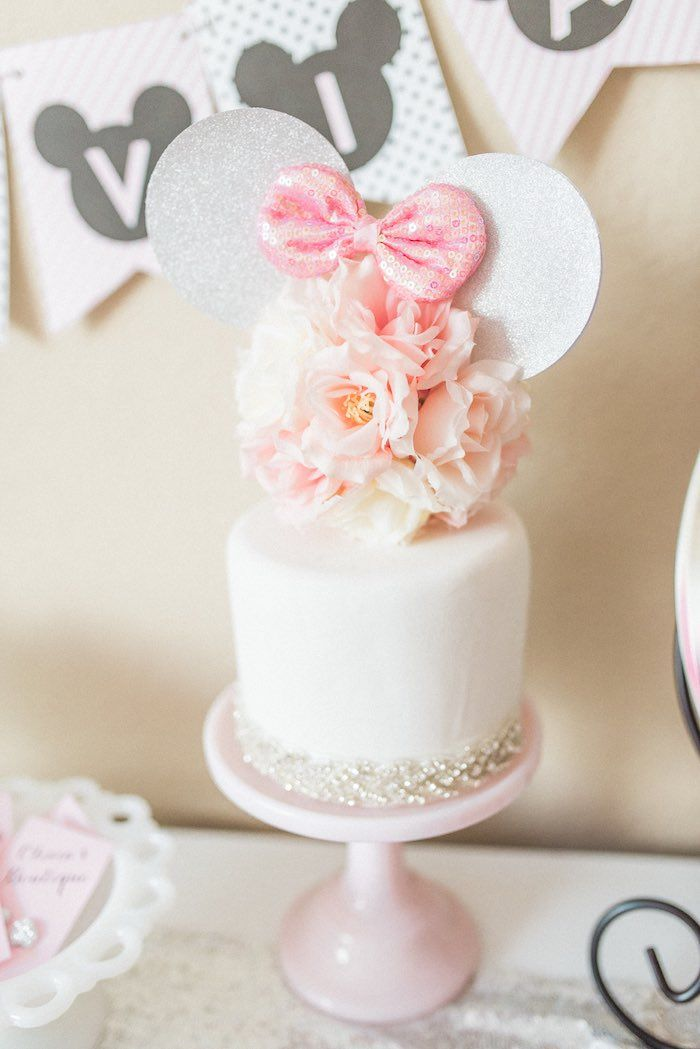 Cake from an Elegant Minnie Mouse Boutique Birthday Party via