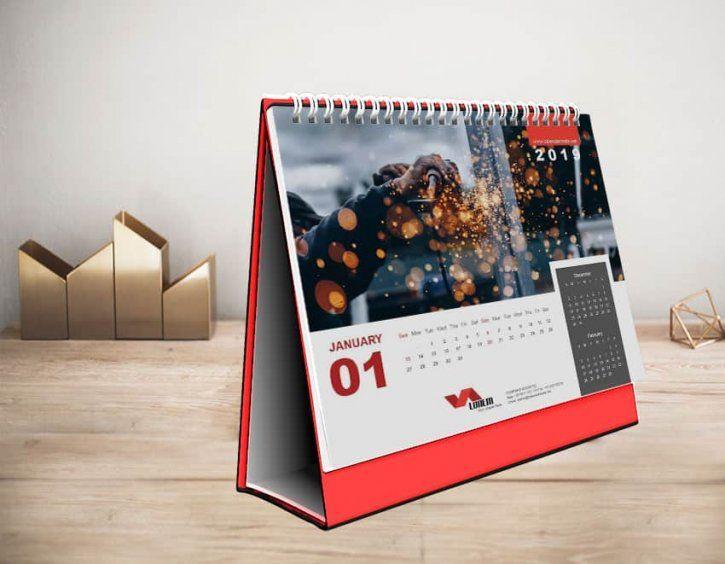 Marka Premium Desk Calendar Design Template 2019 AI File