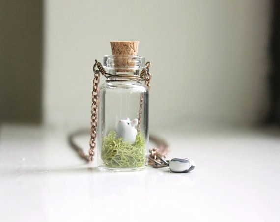 miniature mouse necklace miniature animal necklace woodland forest moss terrarium mini glass. Black Bedroom Furniture Sets. Home Design Ideas