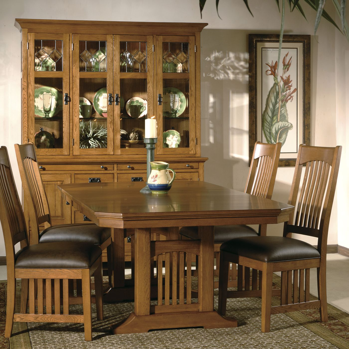 Mission Trestle Table Plans: Hekman Arts & Crafts Mission Pointe Trestle Dining Set