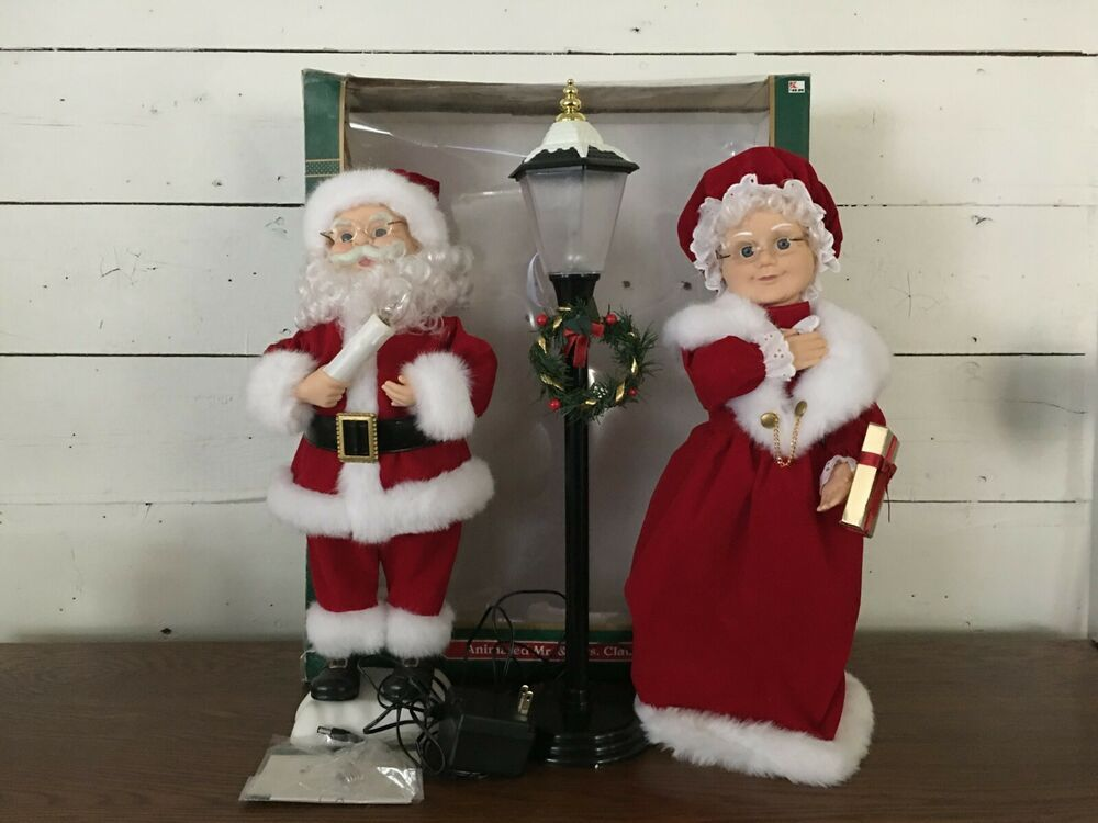 Trim A Home Mr Mrs Santa Claus Light Post Animated Lighted Motion 3 Piece Post Lights Reindeer Lights Animated Christmas