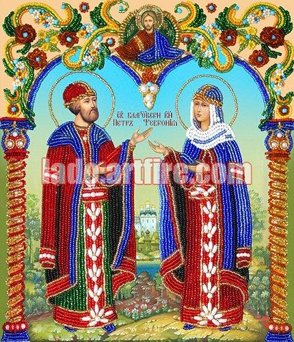 Saints Peter and Fevronia orthodox icon Bead Embroidery DIY kit | Lado - Mixed Media on ArtFire