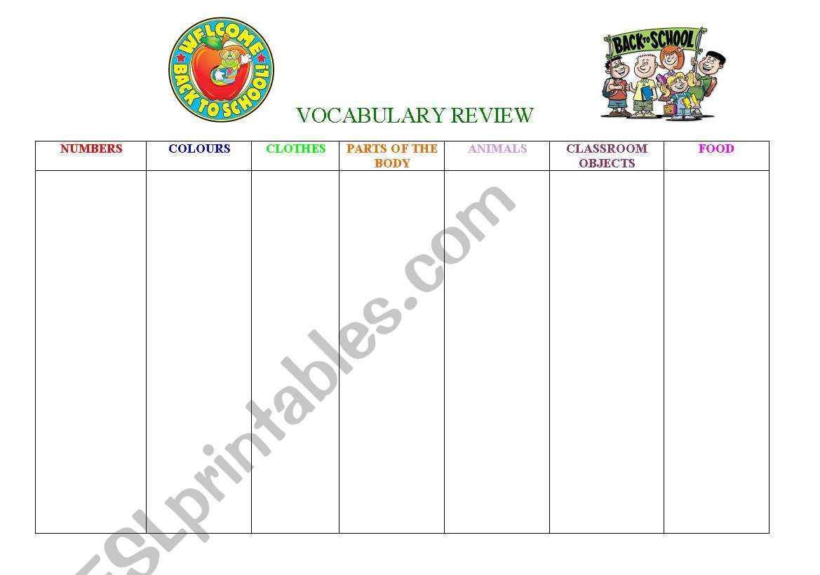 Vocabulary Review Worksheet In