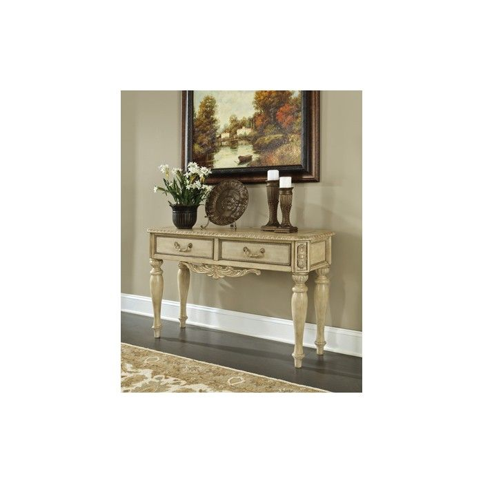 tables ashley console plantation table furniture cherry sofa