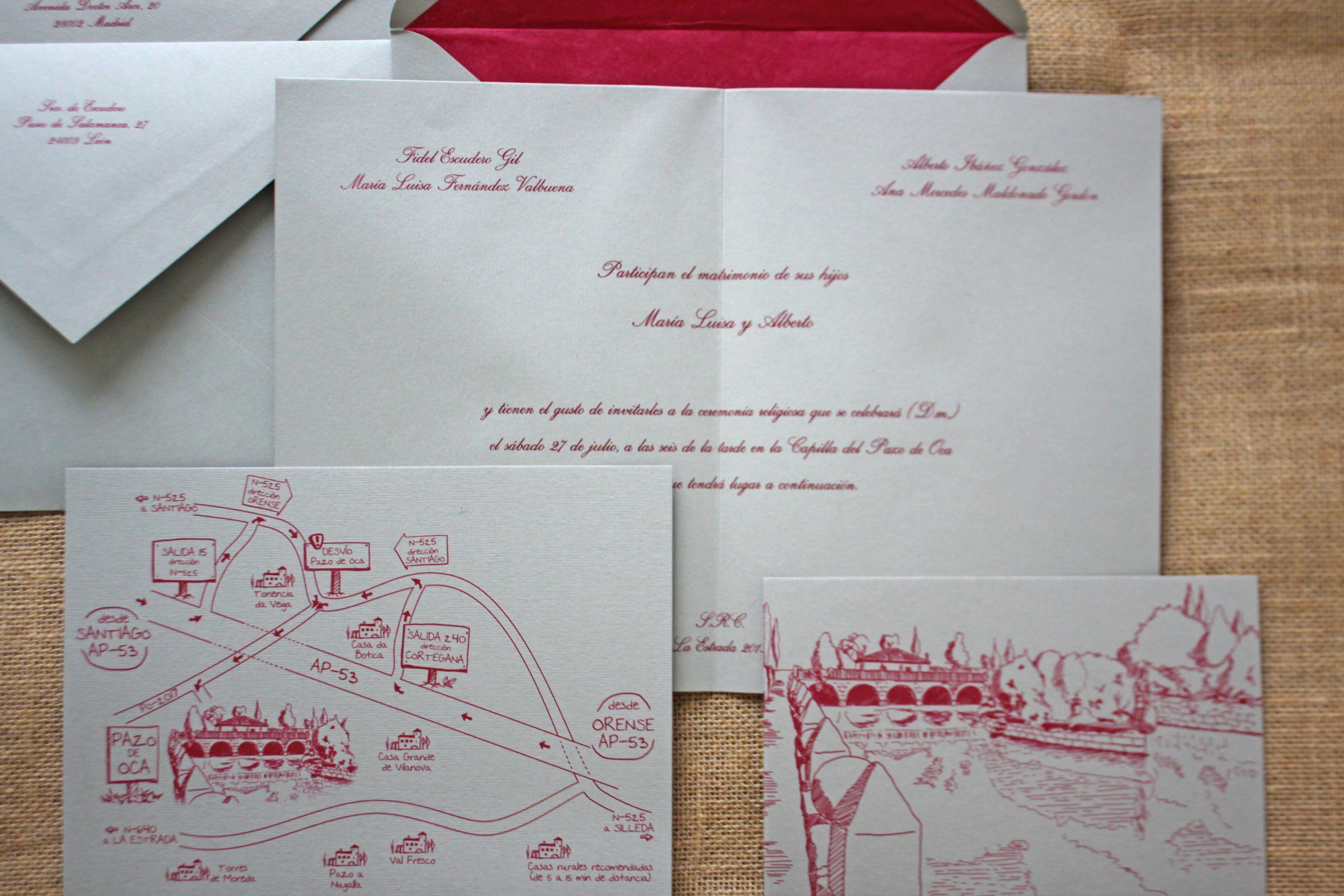 de boda en termo relieve con sobre forrado en seda y con plano y postal