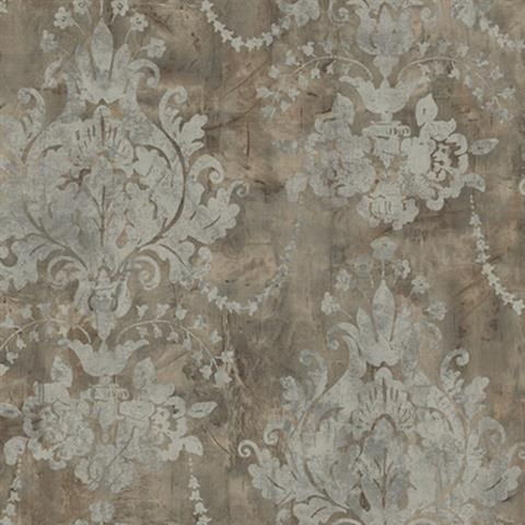 Grey Renaissance Damask Wallpaper, SBK21961