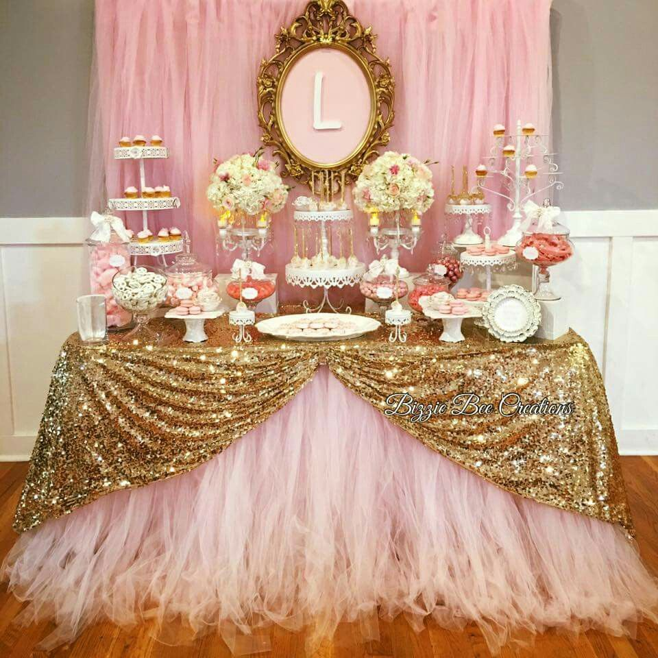 Pin By Sofie Pulido Miranda On Candy Dessert Table Pink And Gold Birthday Party Pink Candy Table Sweet 16 Birthday Party