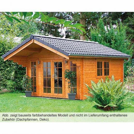 Gartenhaus aus Blockbohlen und Doppeltür Ferienstimmung im