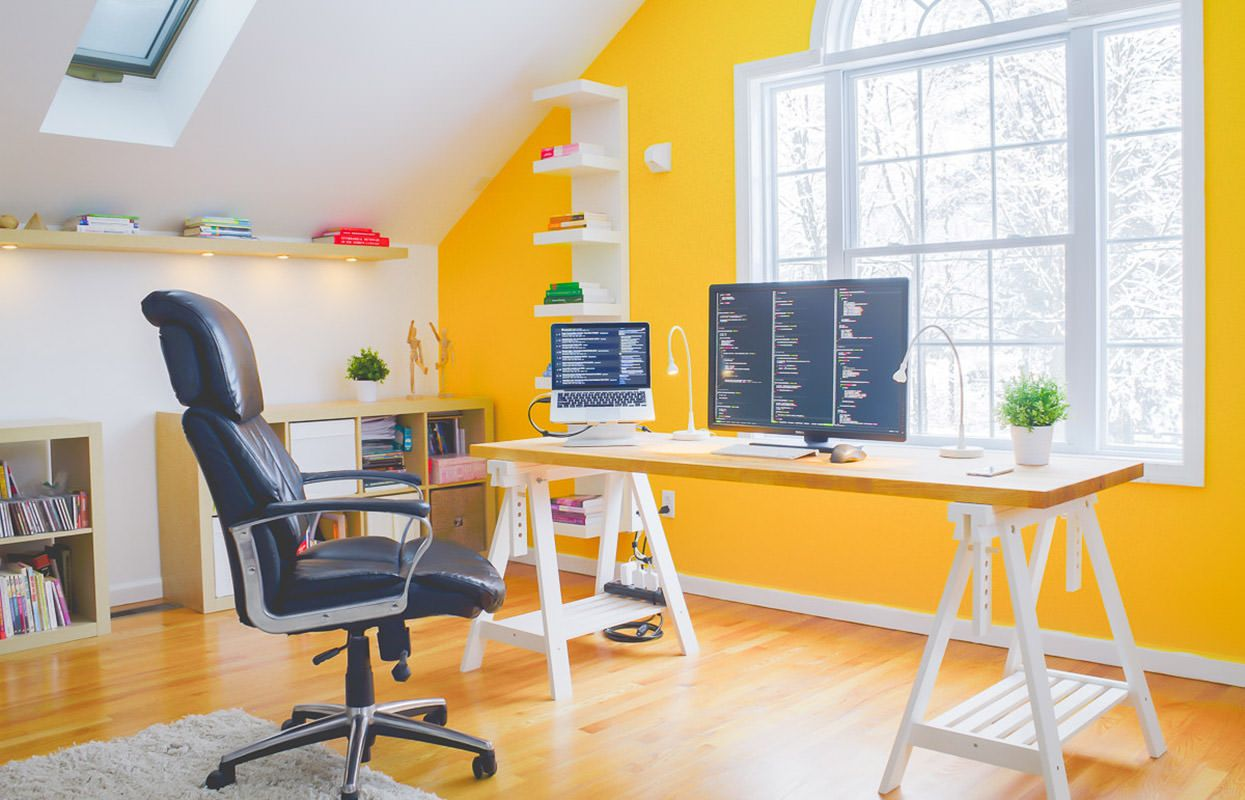 Color art office interiors - 30 Modern Day Home Office Designs That Truly Inspire