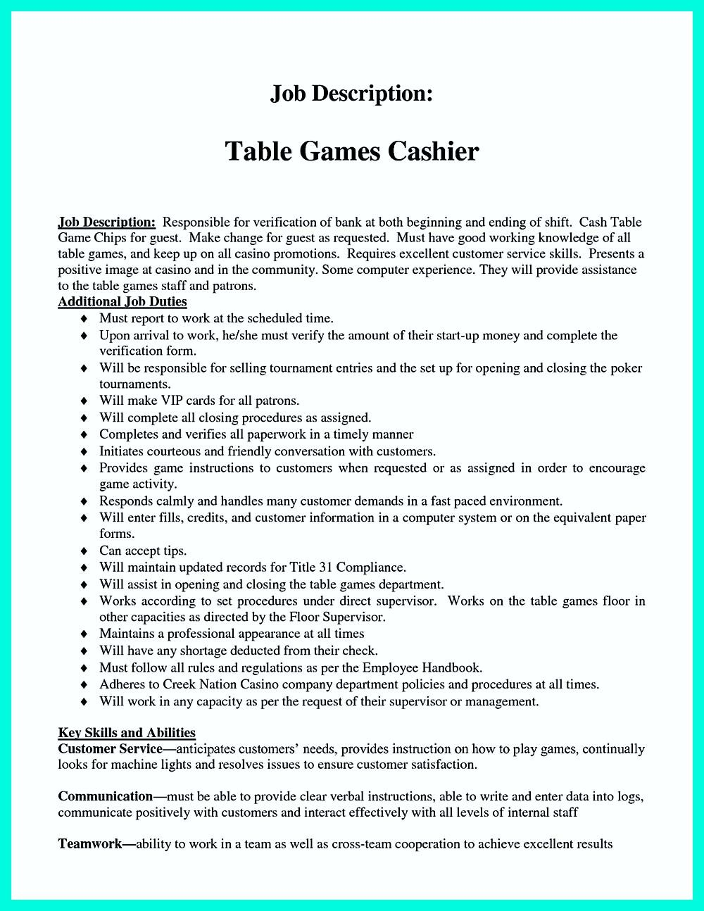 Cashier Description For Resume If You Want To Make A Great And Impressive Cashier Resume Make