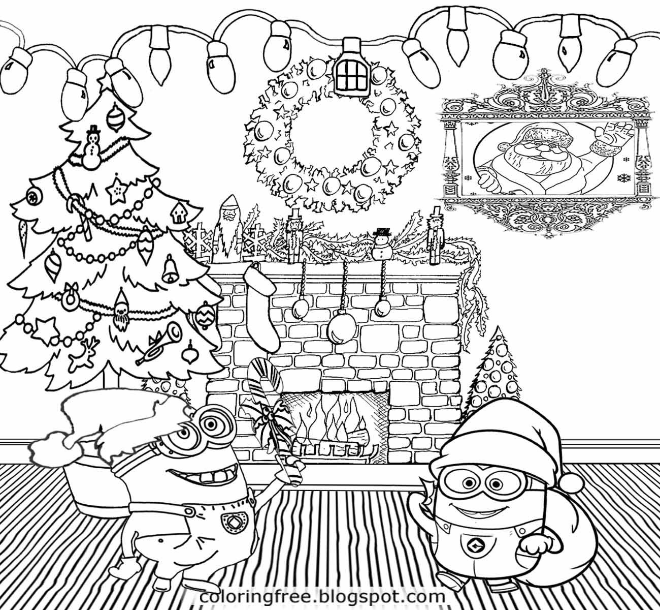 Minion Christmas Coloring Pages Throughout And