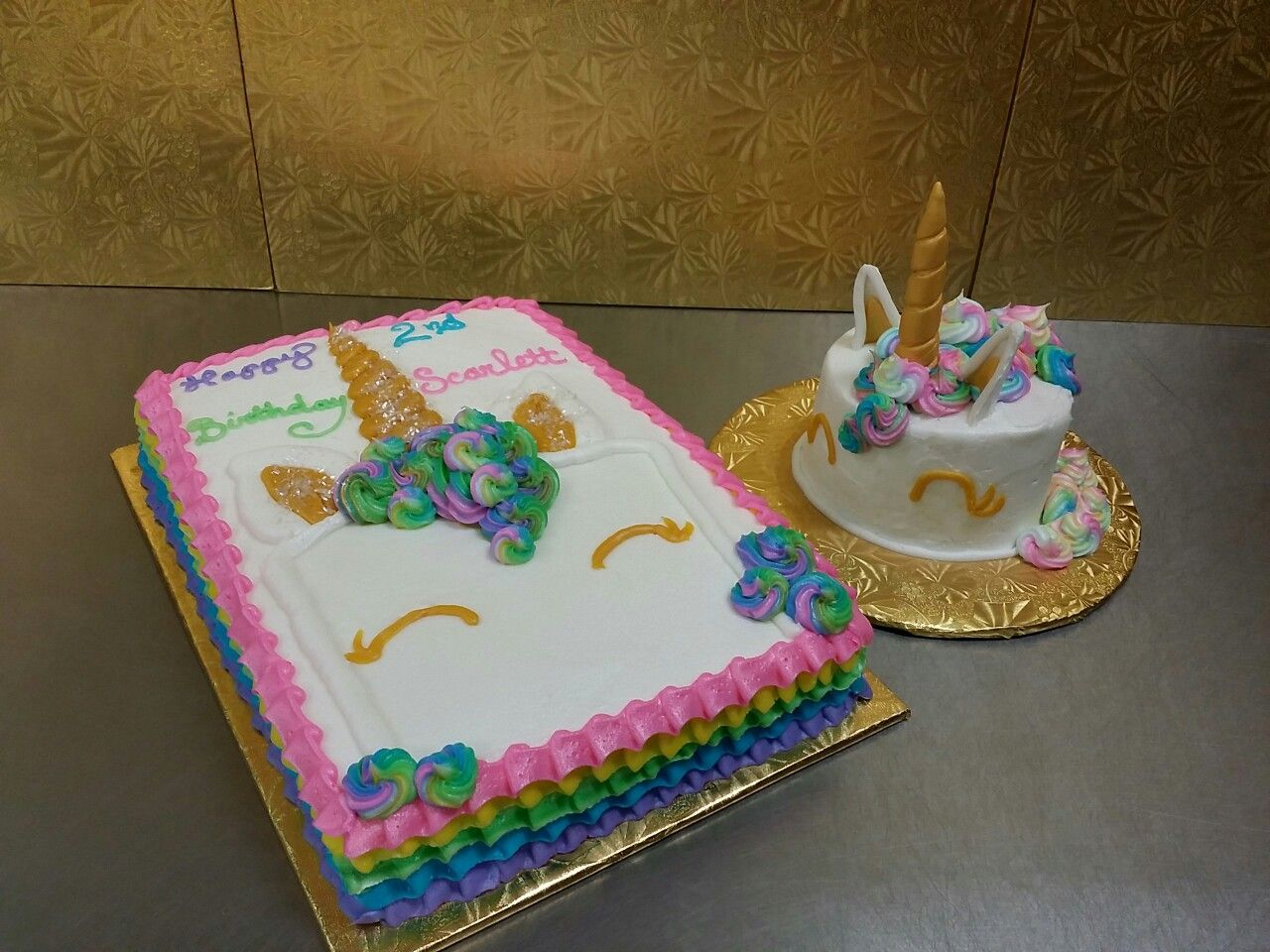 Unicorn Head Drawing On A Quarter Sheet Cake With Rainbow Ruffles