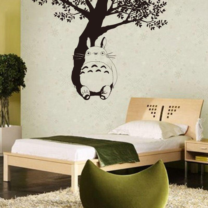 Pas cher mignon totoro art affiche stickers muraux enfants chambre décorer autocollants autocollants en vinyle