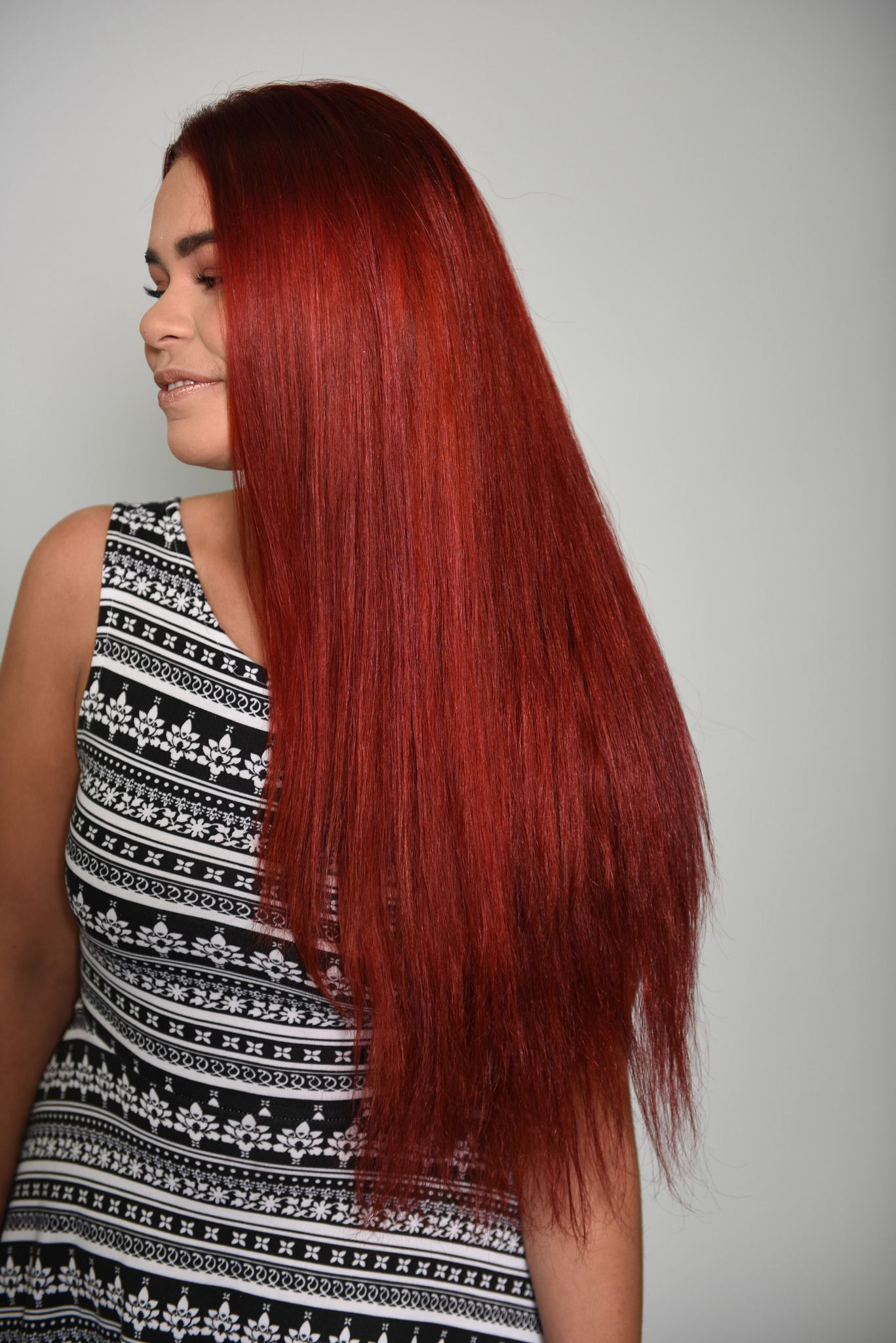 Long Red Orange Hair Color Done by Gene Juarez Academy
