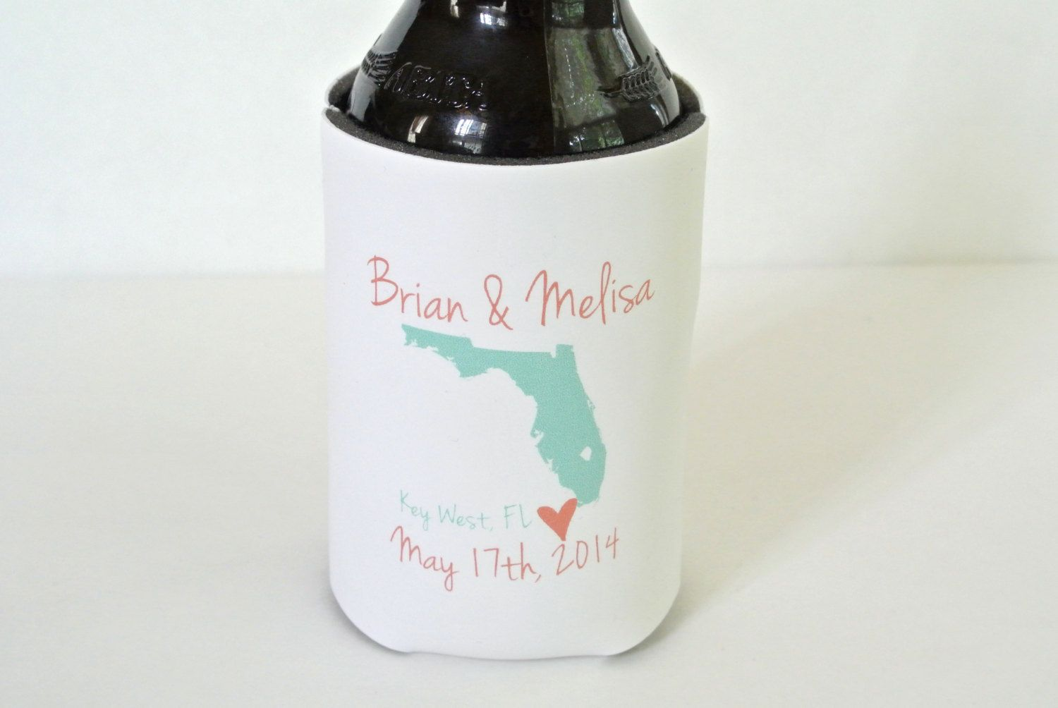 City and State Wedding Favor Can Coolers by yourethatgirldesigns ...