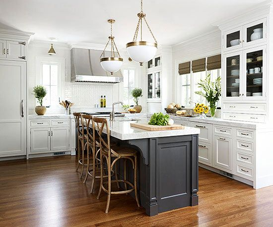 Contrasting kitchen islands white kitchen island for Dark kitchen cabinets light island