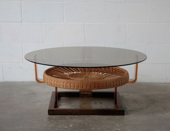 70's Wenge with Smoked Glass and Woven Rattan Coffee Table - 70's Wenge With Smoked Glass And Woven Rattan Coffee Table