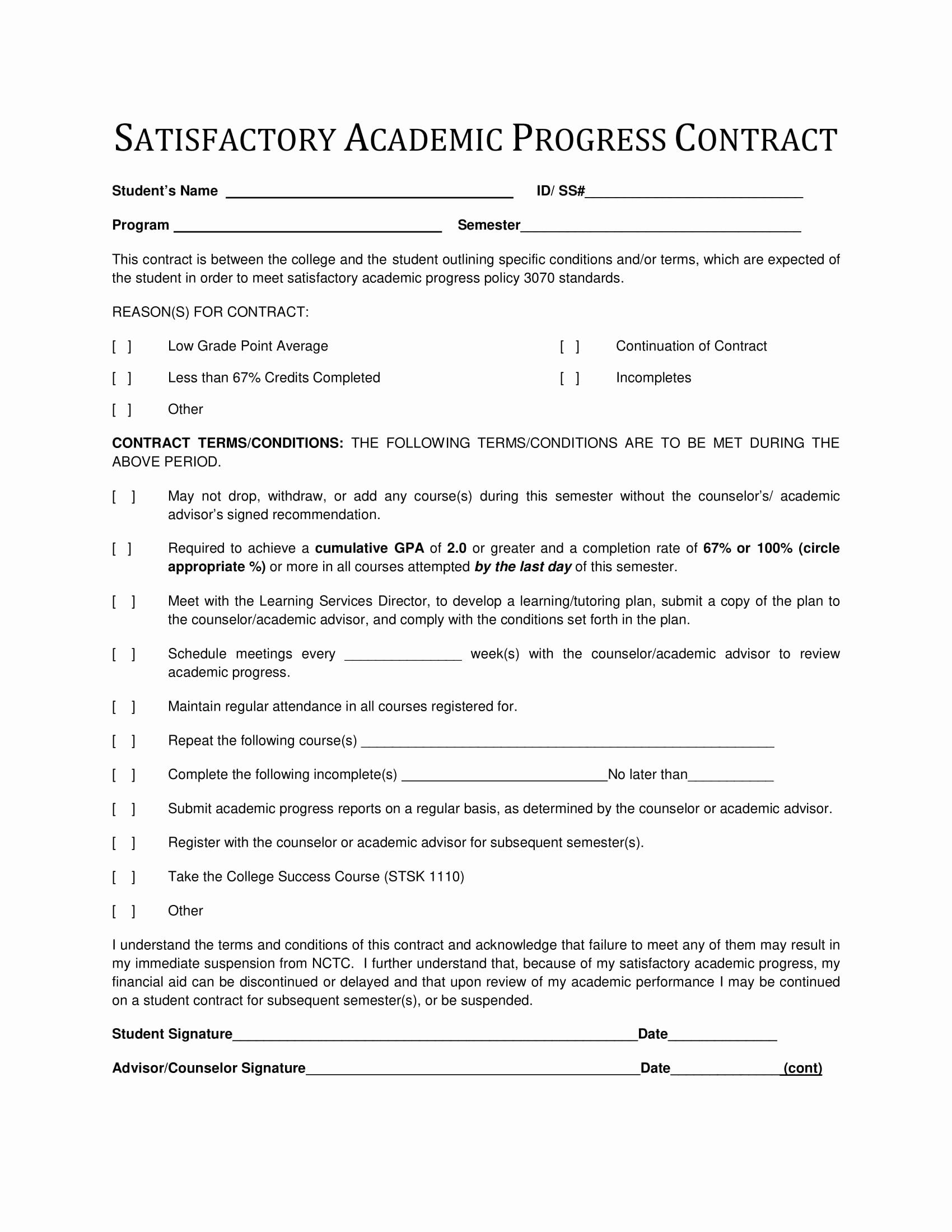 Student Academic Contract Template Awesome 9 Student Academic Contract Template Examples Contract Template Student Behavior Contract Individual Education Plan