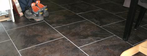 Pvc Vloer Tegellook Met Lichte Voegstrip Vloeren En