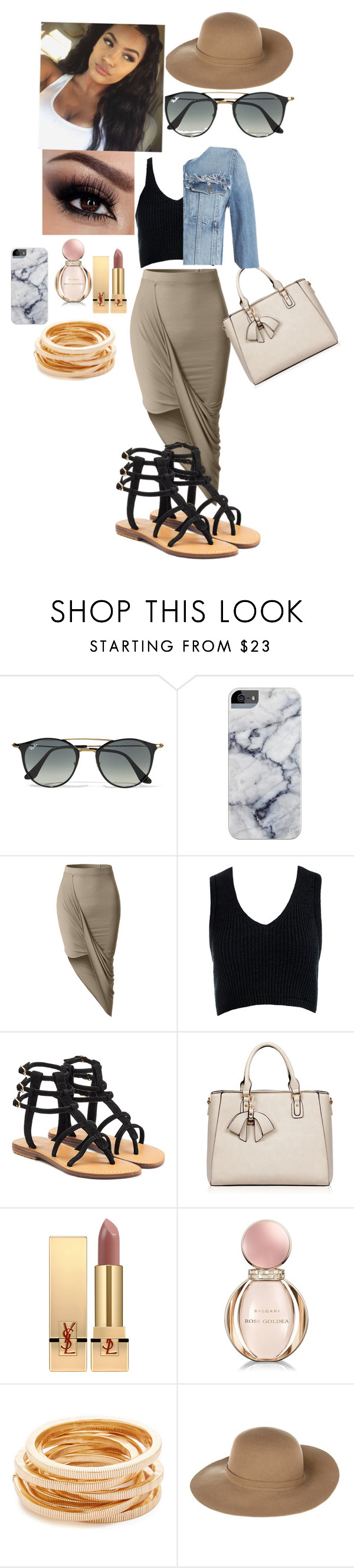 """""""WAGS MIAMI"""" by laylakristion on Polyvore featuring Ray-Ban, LE3NO, Sans Souci, Mystique, Yves Saint Laurent, Bulgari, Kenneth Jay Lane, Armani Jeans and Paige Denim"""