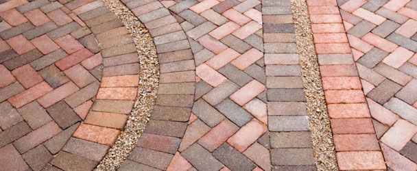 Herringbone With Curve And Gravel Brick Patterns Patio Brick